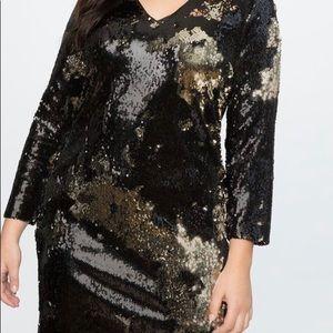 Eloqui blank/gold sequin cocktail dress.